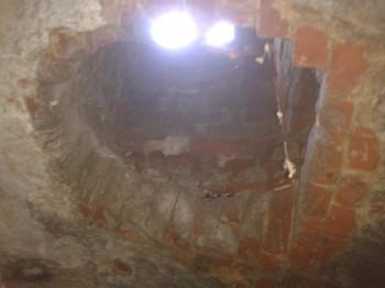 Вид на дырку для угля с катакомб